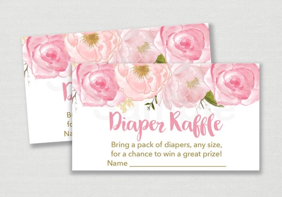 soft pink floral diaper raffle tickets    floral baby shower