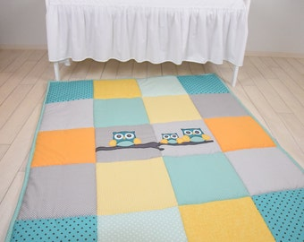Baby Rug, Boy Gir Owll Play Mat, Activity Mat, Baby Playmat, Padded Mat,  Travel Play Mat, Personalized Playmat, Custom Baby Mat, Teal, Aqua