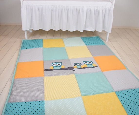 Baby Rug, Boy Gir Owll Play Mat, Activity Mat, Baby Playmat, Padded Mat,  Travel Play Mat, Personalized Playmat, Custom Baby Mat, Teal, Aqua