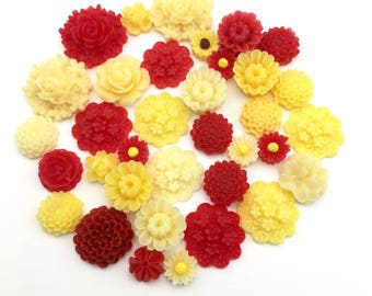 35 pcs resin cabochon flowers ,assorted sizes,10mm to 25mm#FL 139