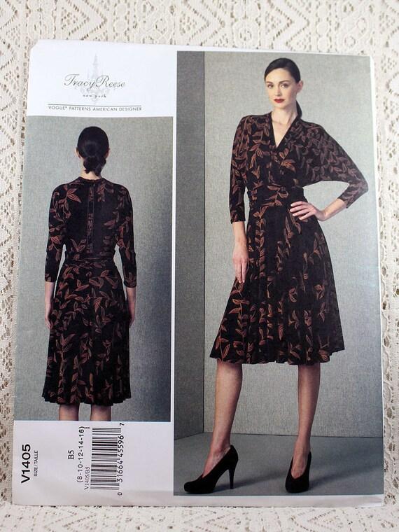 Vogue 1405, Misses\' Dress Sewing Pattern, Mock Wrap Dress, Raglan ...