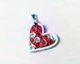 Heart Necklace Paper Anniversary Gift for Woman, paper quilling heart pendant, first anniversary gift, paper heart jewelry, love necklace
