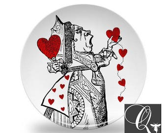Queen of Hearts Plate,Alice in Wonderland plates,heart dishes,kids plates,melamine plates,tea party decor,kids dishes,dinnerware set #28