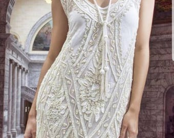 Ivory Beaded Vintage Flapper 1920's Wedding Dress,The Great Gatsby, Downton Abbey, Vintage Bride, Boudoir.
