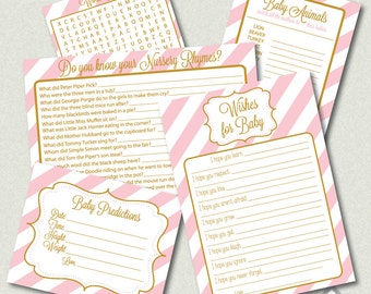 Printable Baby Shower Games, pink and gold, Girl Baby Shower, Word Search, Wishes for Baby, baby animals, baby predictions, nursery rhymes