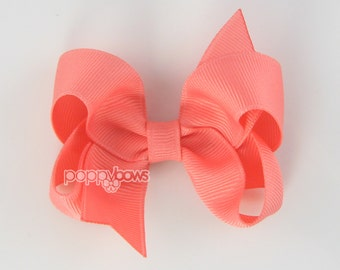 Coral Hairbow - Baby Toddler Girl - Solid Color 3 Inch Boutique Hair Bow on Alligator Clip Barrette