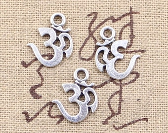 Om symbol charms, Silver om charms, 30 pcs, Tibetan silver charms, Metal charms, Cheap Yoga charms, Bulk om charms, 15 mm x 12 mm, A74