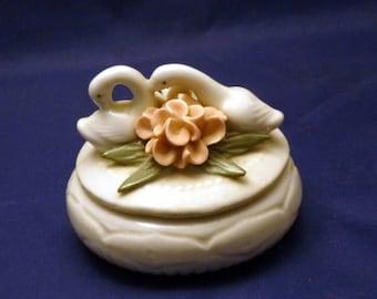 Vintage Swans and Flowers Trinket Dish, 1960s