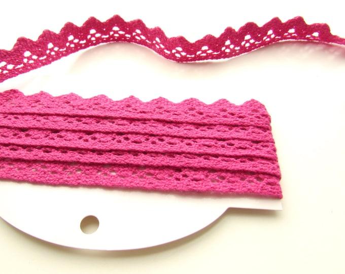 "2.5yds PINK cotton trim - Dark pink crochet lace trim 1"" - Pink cotton crochet trim 2.5 cm - Crochet edging trim - Crochet bunting trim"