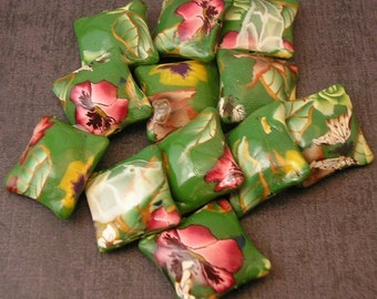 Forest Flowers Green Polymer Clay Pillow Bead Dozen, 12 Pieces - Made to Order