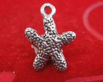 925 sterling silver starfish charm, sea life, silver starfish, starfish