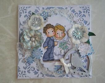 Carte félicitation de mariage avec un couple de personnages