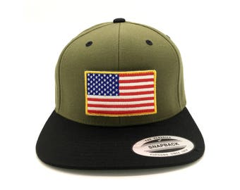 U.S.A American flag SnapBack Flat Brim baseball summer cap hat vith velcro Army colored with replacable patch. Best gift for patriot