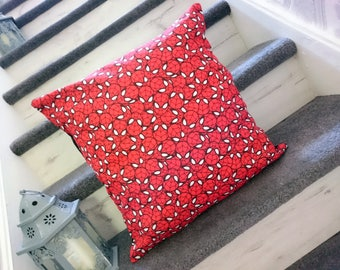 Spiderman red faces mask cushion cover cotton
