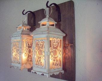 Lantern pair wall decor (2), wall sconces, housewarming gift, bathroom decor, wrought iron hook, rustic wood boards