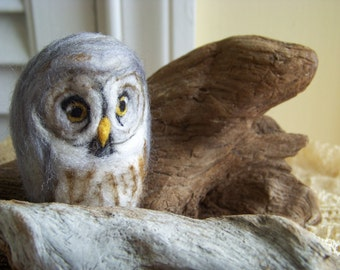 Needle Felted Great Grey Owl