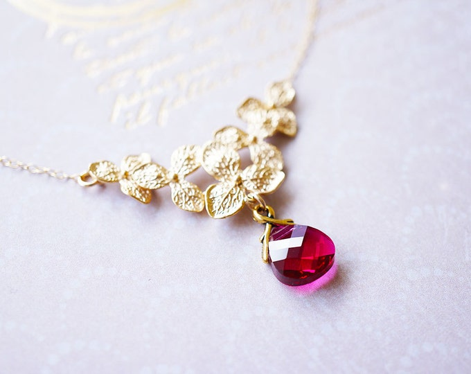 Featured listing image: Necklace, Gold Necklace, Flower Necklace, Crystal Necklace, Pink Necklace, Handmade Necklace, Ruby Necklace, Bridesmaid Necklace, Gift