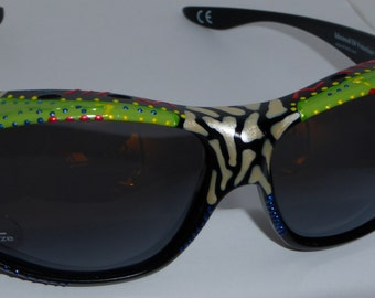 """Hand Painted Polarized  Fit over Sunglasses """"Luscious Lime  """" Sunglasses that fit over your own eye glasses, custom made especially 4 you."""