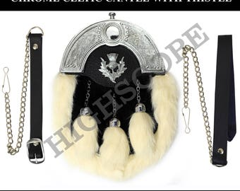 Kilt Sporran white Rabbit Fur and Chrome Celtic Cantle  with Thistle 1 piece