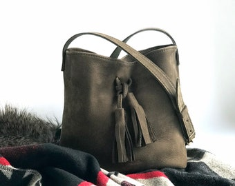 Hobo M khaki - shoulder bag - leather bag