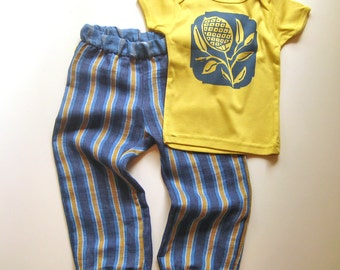 modern baby set - city stripe pants trousers & organic thistle tshirt - yellow/blue 6-12m