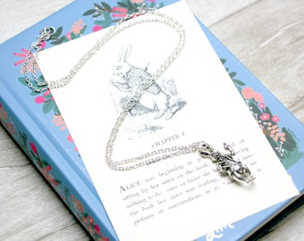 Alice in Wonderland White Rabbit Charm Necklace / Vintage Book Page Literary Jewelry Jewellery Library Gift