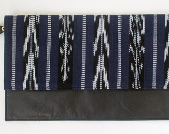Black Leather and Navy Blue Ikat Clutch