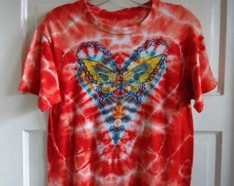 Vintage 70s TIE DYE Butterfly ooak T Shirt sz S