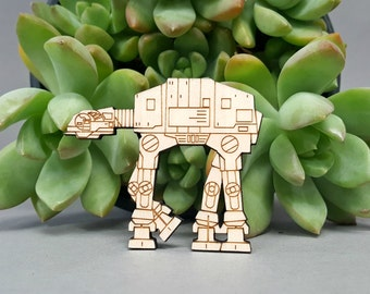 Star Wars ATAT Magnet - Laser Engraved Maple Wood - Fridge Magnet AT-AT