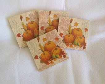 Natural Stone Pumpkin Coasters, Beverage Coasters, Holiday Coasters, Fall Coasters