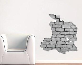 Effect Brick Wall Sticker - Broken Wall Effect Sticker - Broken Wall Decal - Decorating Vinyl Sticker - Home and Office Decor -Sku:WallBrick