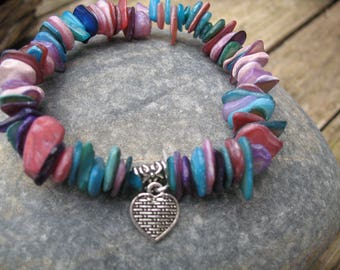 Multicolor Pearl chips and heart bracelet