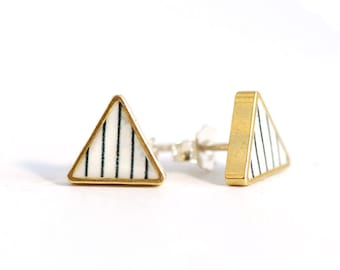 White and Gold Geometric Triangle stud earrings