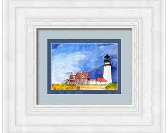 Truro Lighthouse **ORIGINAL Watercolor Cape Cod Wall Art Canvas Wall Decor Art Home Decor Home & Living interior design art wall hangings
