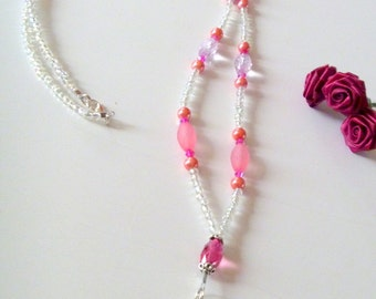 Pink and Clear Beaded and Crystal Beaded Lanyard for ID Card Badge or Key Card
