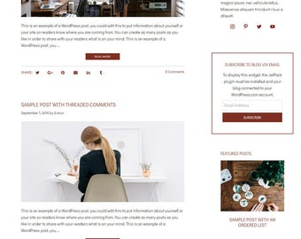 WordPress Blog Theme - Beauty WordPress Design - Self-Hosted WordPress Theme - WordPress Blog Theme - Blog Design - Evelyn II