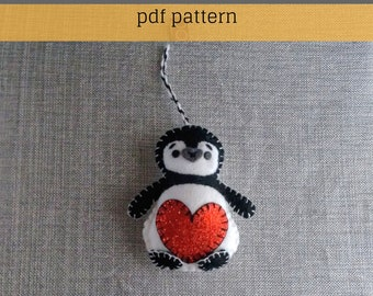 Christmas Ornament-Felt Pattern-Ornament-Felt Penguin Pattern-Felt PDF Pattern-Decor-Felt Patterns-Felt Ornament Pattern