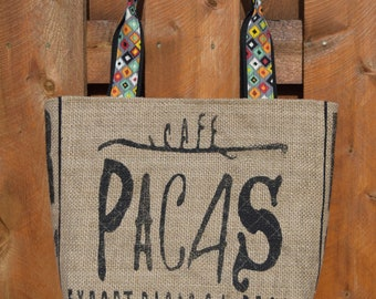 Recycled, Repurposed Burlap Coffee Sack Tote Bag  El Salvador