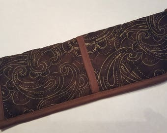 Curling Iron/ Flat Iron Travel Holder Brown with Gold quilted