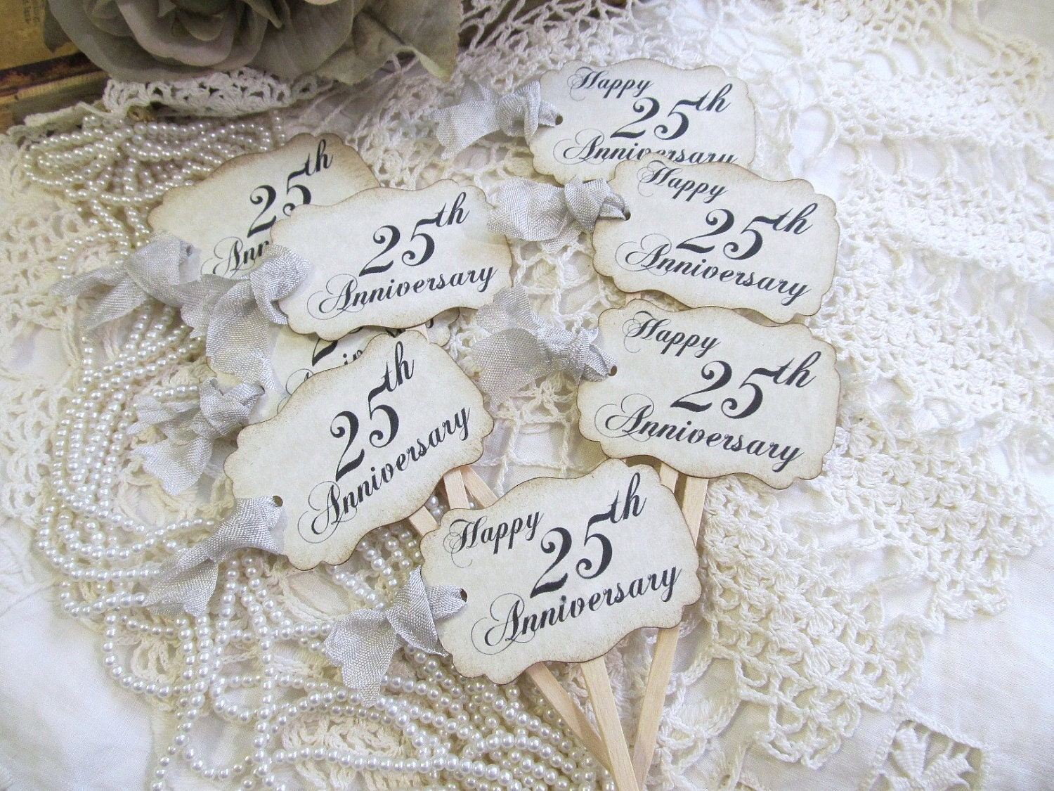 Silver 25th Anniversary Cupcake Toppers Party Picks or favor