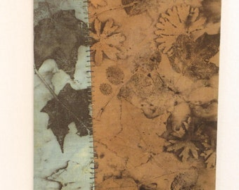 "Botanical Print Wall Decor - Ready-To-Hang Ecoprint - Maple and Cranesbill  - ECF8x101705 - 8""x10"" (20x25cm) - Free Shipping"