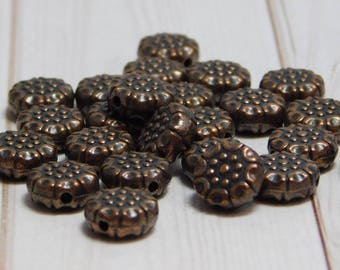 25pcs - 9mm - Copper Beads - Antique Copper - Copper Spacers - Metal Beads - Copper Flower Bead - Pewter Beads - Lead Free Beads - (2885)
