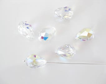 6 PC Swarovski Crystal Beads, Faceted Teardrop, Jewelry Supplies (5500) AB 9X6MM