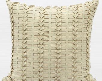 "Luxury Beige Handmade Textured Pillow Cover 18""X18"""