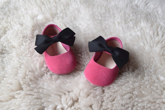 Hot pink baby girl shoes leather baby shoes with bow baby like this item mightylinksfo Choice Image