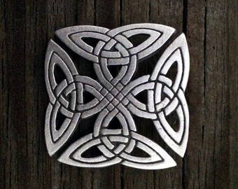 Squared Celtic Knot-Work Pewter Brooch Pin | Celtic Jewelry | Medieval Jewelry | Handcrafted Jewelry | by Treasure Cast Pewter
