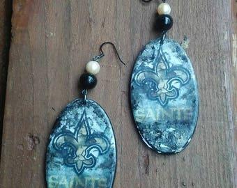 New Orleans Saints Earrings, New Orleans Saints Jewelry, Saints Earrings, NFL Jewelry, NFL Earrings