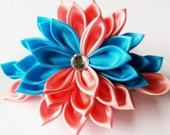 Floral Hair Clip - Kanzashi Fabric Flower Hair Clip - Hair Flower - Flower Hair Clip - Hair Clip - Kanzashi Clip
