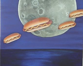 Painting, Multi-Media, Wieners In Space