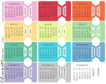 Calendar Month Tabs MONDAY START - Hobonichi, Erin Condren, Filofax, Plum Planner, Midori, Traveler's Notebook